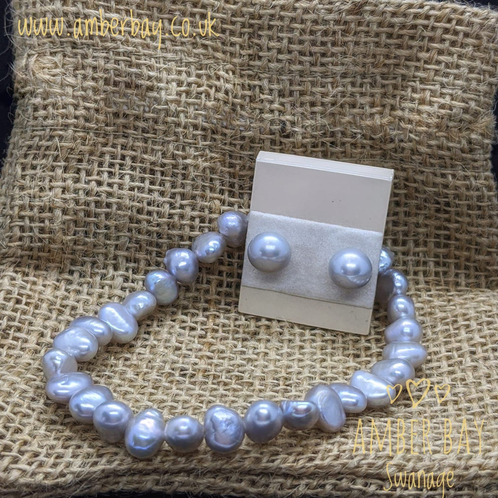 Grey Pearl Bracelet and Stud Earrings