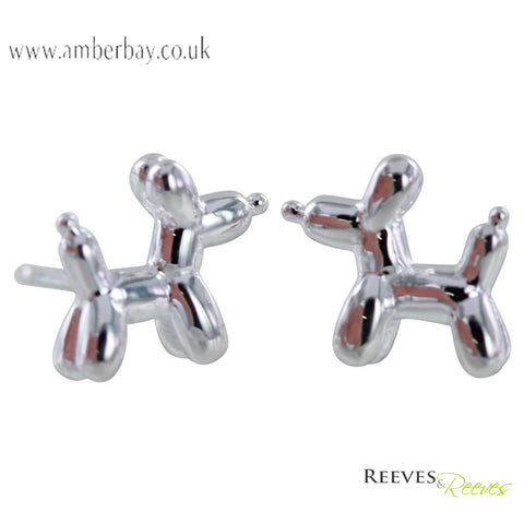 Reeves and Reeves Sterling Silver Balloon Dog Stud Earrings