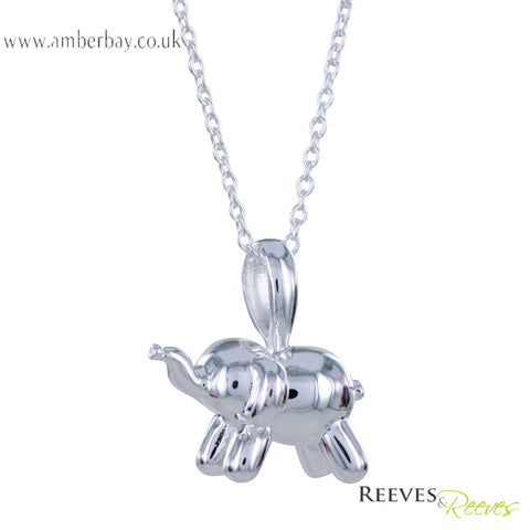 Reeves and Reeves Sterling Silver Balloon Elephant Necklace