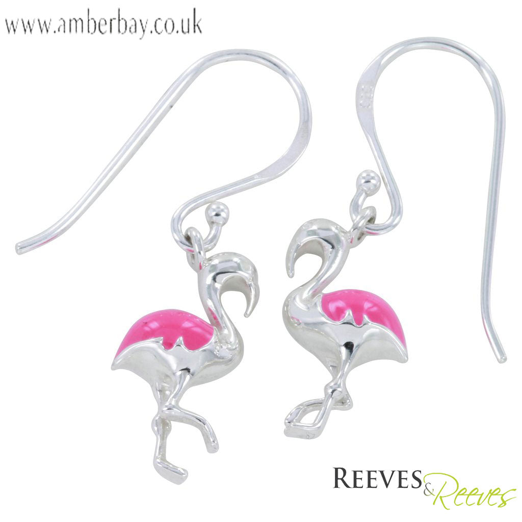 Silver and Pink Enamel Flamingo Drop Earrings