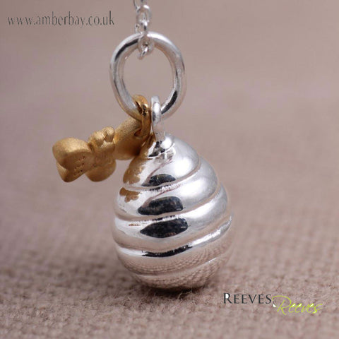 Reeves and Reeves Sterling Silver and Gold Plated Bee and Honey Pot Necklace