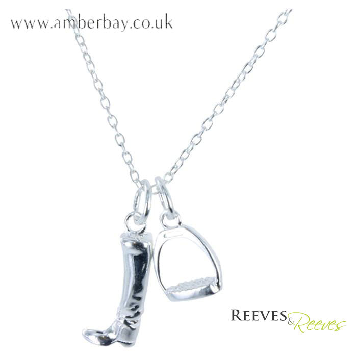 Reeves and Reeves Sterling Silver Boot and Stirrup Necklace