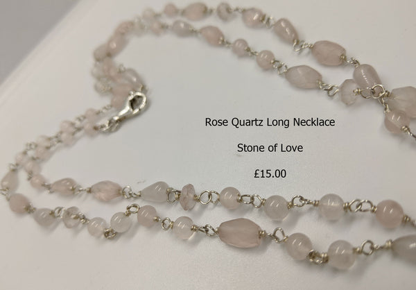 Silver and Rose Quartz Long Necklace