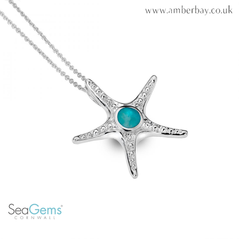 Sea Gems Sterling Silver and Turquoise Starfish Pendant P1281