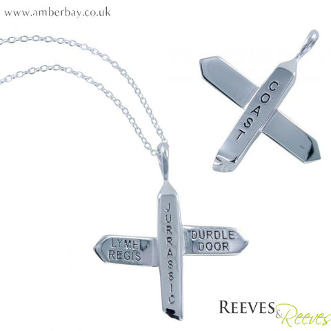 Silver Jurassic Coast Signpost Necklace