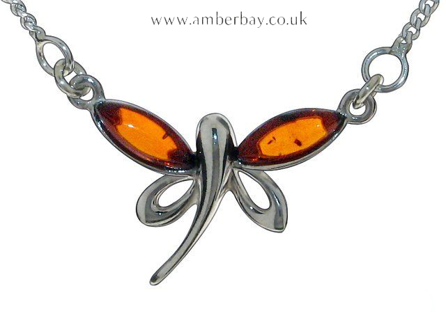 Sterling Silver and Cognac Amber Dragonfly Necklace