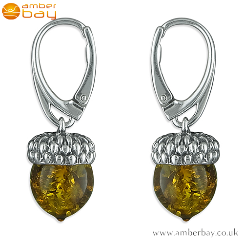 Sterling Silver and Cognac Baltic Amber Acorn Drop Earrings