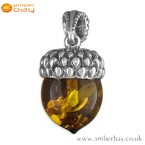 Sterling Silver and Cognac Baltic Amber Acorn Pendant