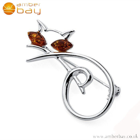 Silver and Amber Lying Cat Brooch