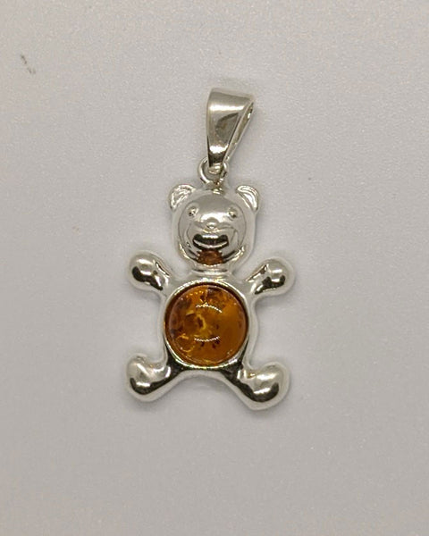 Sterling Silver and Cognac Baltic Amber Teddy Bear Pendant
