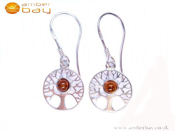 Silver and Amber Tree Of Life Drop Earrings
