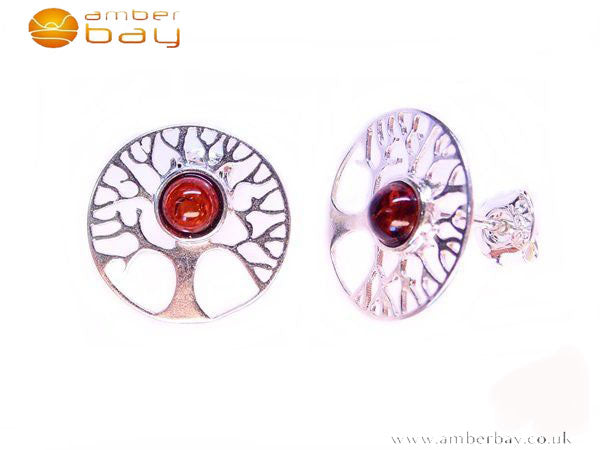 Silver and Amber Tree of Life Studs