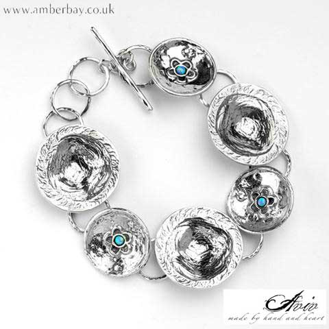 Aviv Sterling Silver and Opal Flower Bracelet