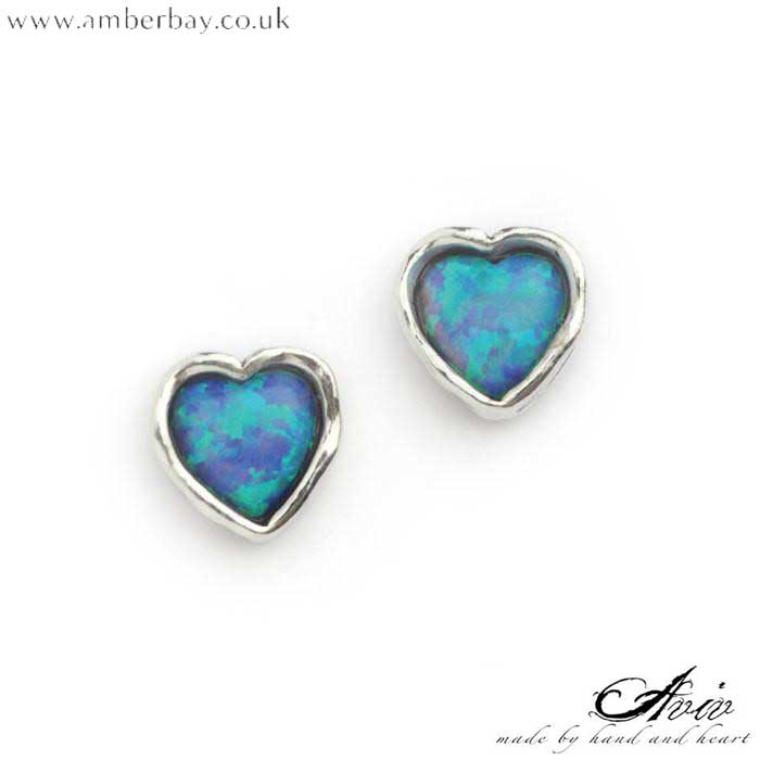 Aviv Sterling Silver and Opal Heart Studs