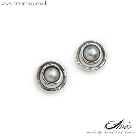 Aviv Sterling Silver and Pearl Studs