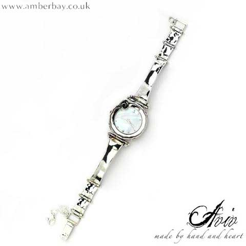 Aviv Sterling Silver and Mother Of Pearl Watch