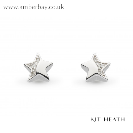 Silver Kit Heath Miniature Sparkle CZ Shining Star Stud earrings