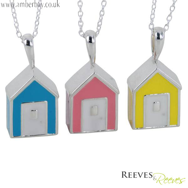 Silver and Enamel Beach Hut Necklace Reeves and Reeves