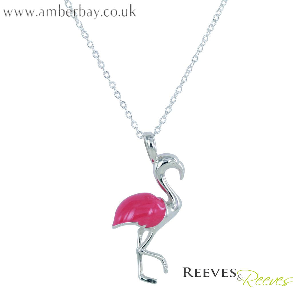 Silver and Pink Enamel Flamingo Necklace