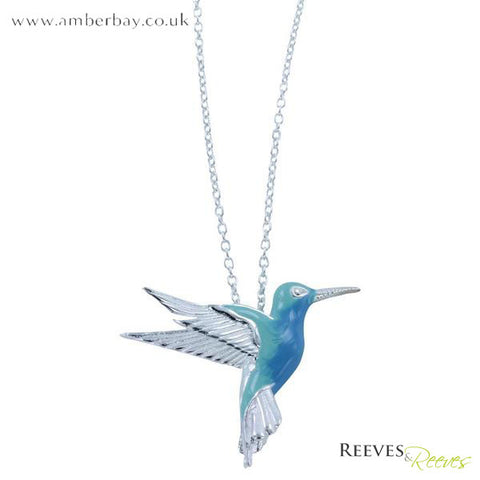 Silver and Enamel Hummingbird Necklace