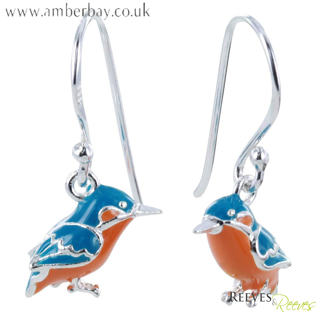 Silver and Enamel Kingfisher Drop Earrings