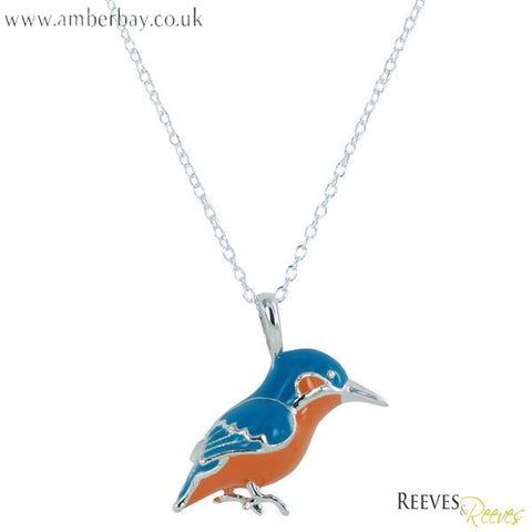 Silver and Enamel Kingfisher Necklace