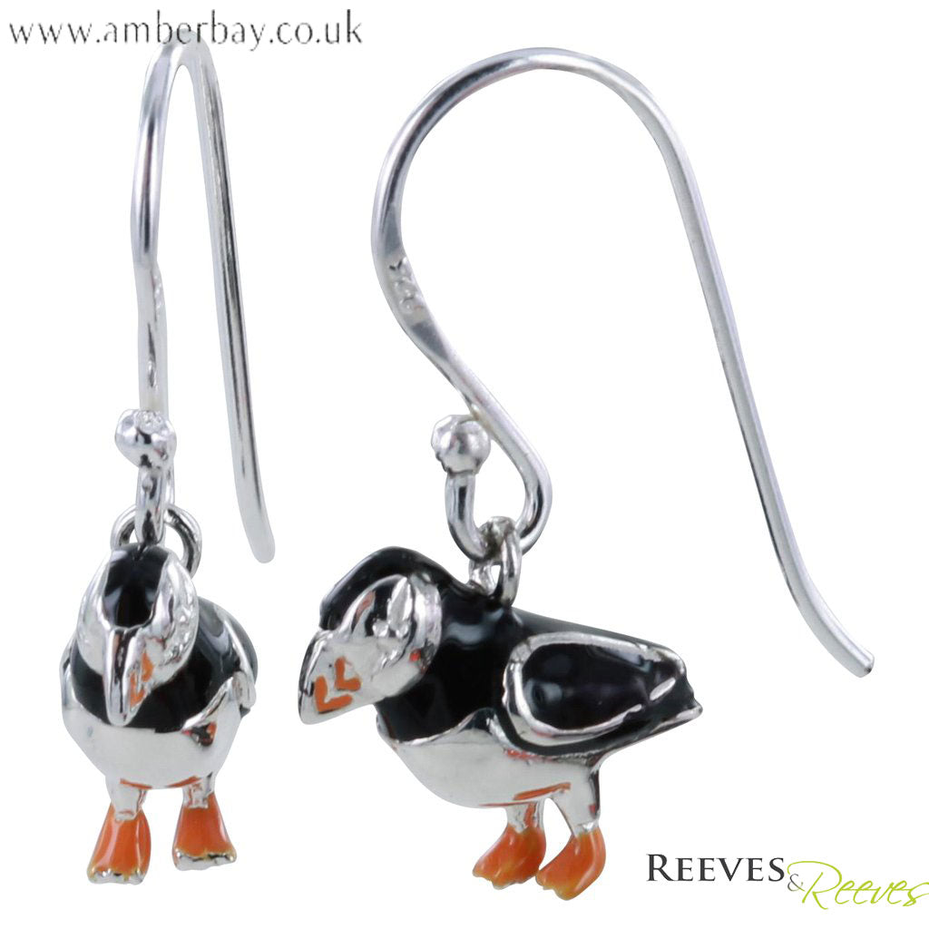 Silver and Enamel Puffin Earrings