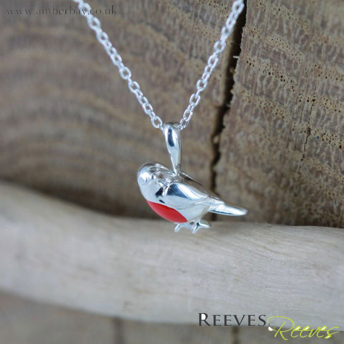 Silver and Enamel Robin Red Breast Necklace