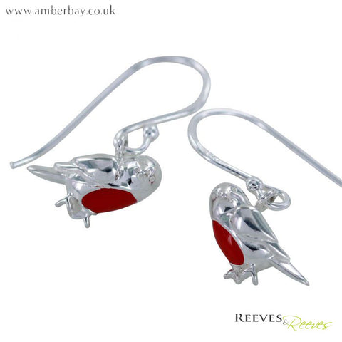 Silver and Enamel Robin Red Breast Drop Earrings