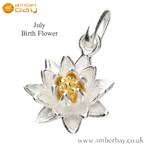Sterling Silver and Gold Plated Water Lily July Birth Flower Pendant/Charm