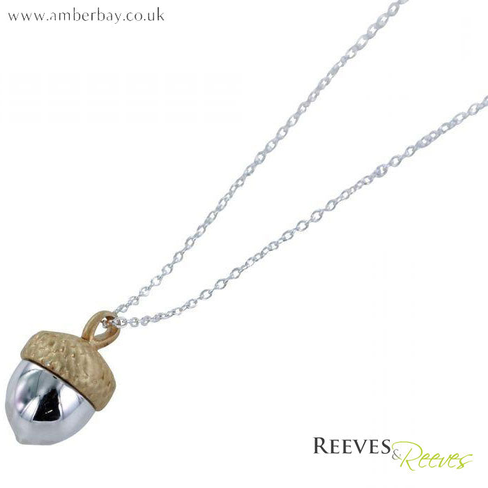 Silver and Gold Plated Acorn Necklace