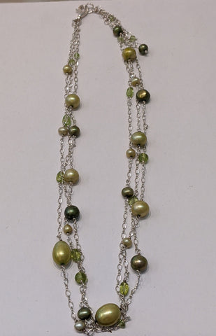 Sterling Silver and Green Pearl Multi Strand Necklace