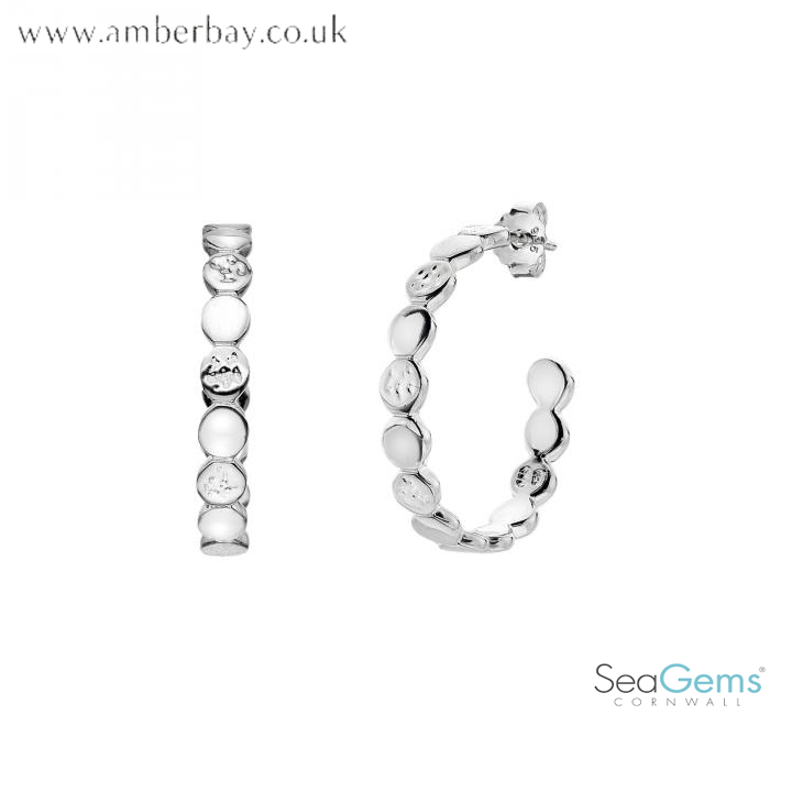Sea Gems Sterling Silver Hammered Hoops P1203