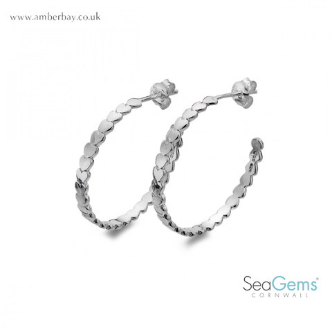 Sea Gems Sterling Silver Heart Hoops P1112
