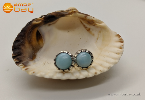 Sterling Silver and Larimar Crimped Stud Earrings