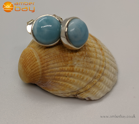 Sterling Silver Round Larimar Stud Earrings