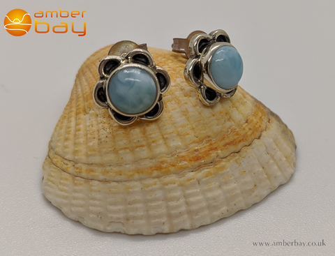 Sterling Silver and Larimar Flower Stud Earrings
