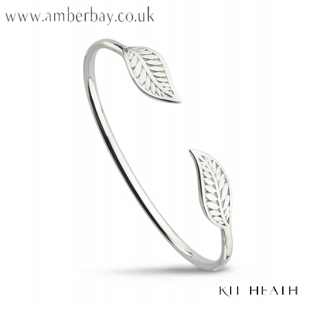 Silver Kit Heath Blossom Eden Twin Leaf Bangle