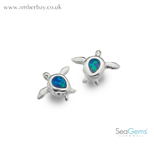 Sea Gems Sterling Silver and Opalique Turtle ear Studs P3781