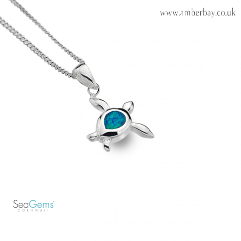Sea Gems Sterling Silver and Opalique Turtle Pendant P3780