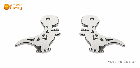 Sterling Silver Dinky T-Rex Dinosaur Stud Earrings