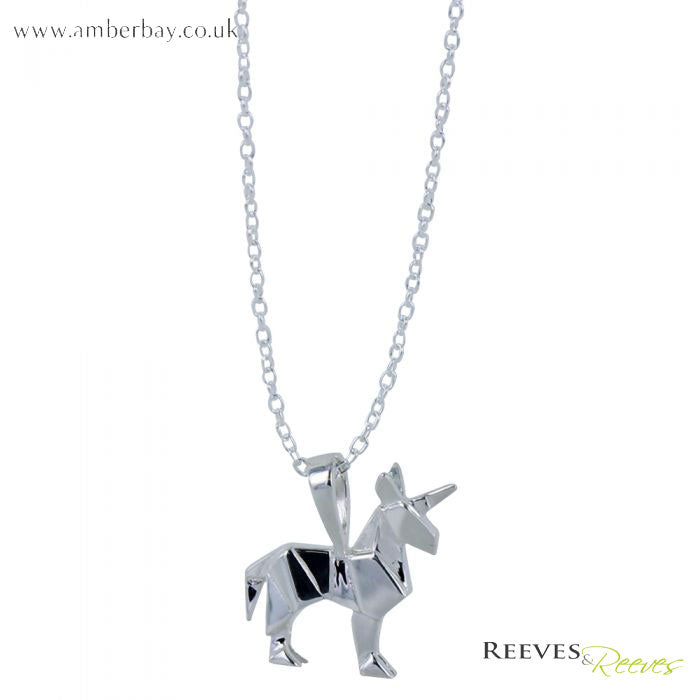 Silver Origami Unicorn Necklace