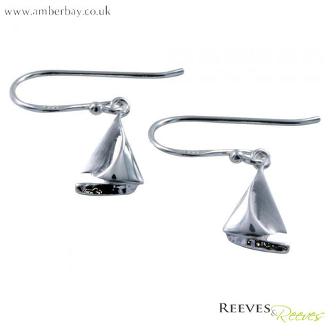 Silver Sailing Boat Earrings