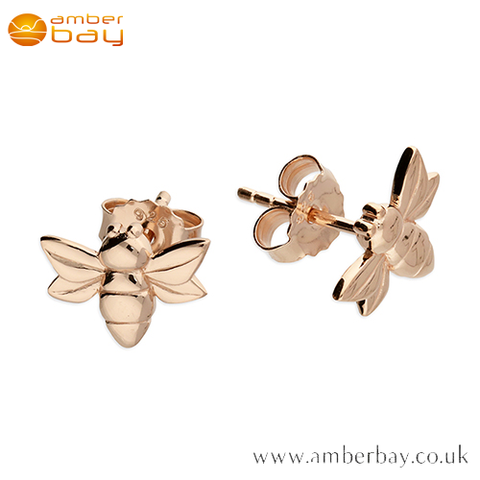 Rose Gold Plated Bee Stud Earrings