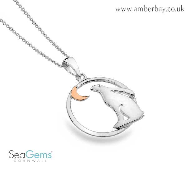 Sea Gems Sterling Silver and Rose Gold Plated Hare Looking at the Moon Pendant P1134