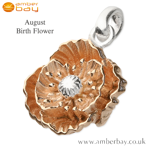 Rose Gold Plated Poppy August Birth Flower Pendant/Charm