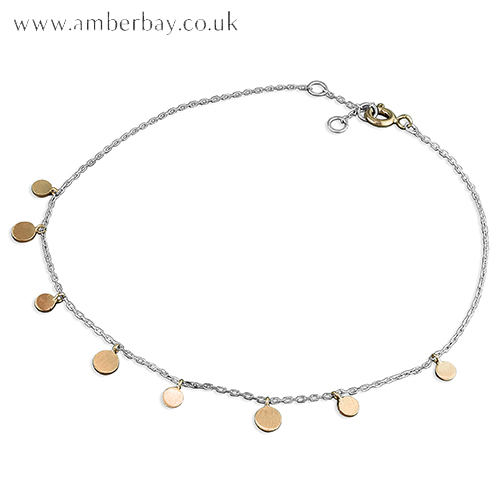 Sterling Silver and Rose Gold Plated Circle Anklet