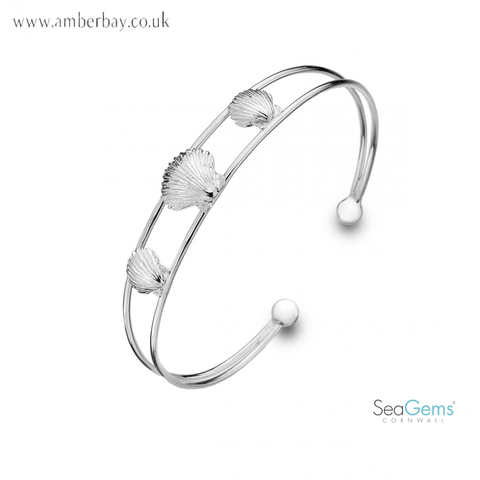 Sea Gems Sterling Silver Scallop Shell Torque Bangle P1722
