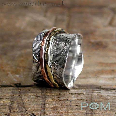 Silver, Copper and Brass Spinning Ring
