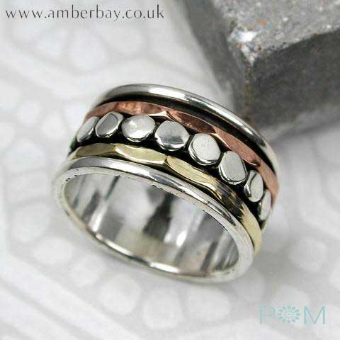 Sterling Silver, Copper and Brass Spinning Ring